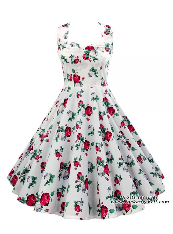 "Robe Rockabilly Pin-Up Années 50 Rock Ange'Hell ""Vivien Roses"""