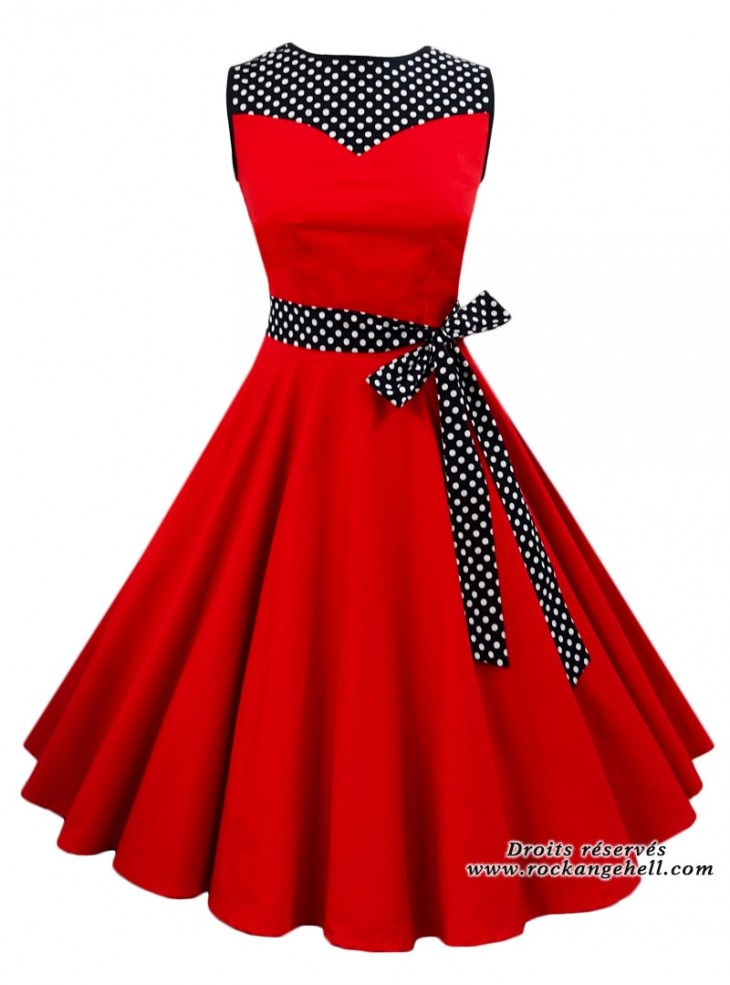 "Robe Rockabilly Pin-Up Années 50 Rock Ange'Hell ""Olivia Red"""