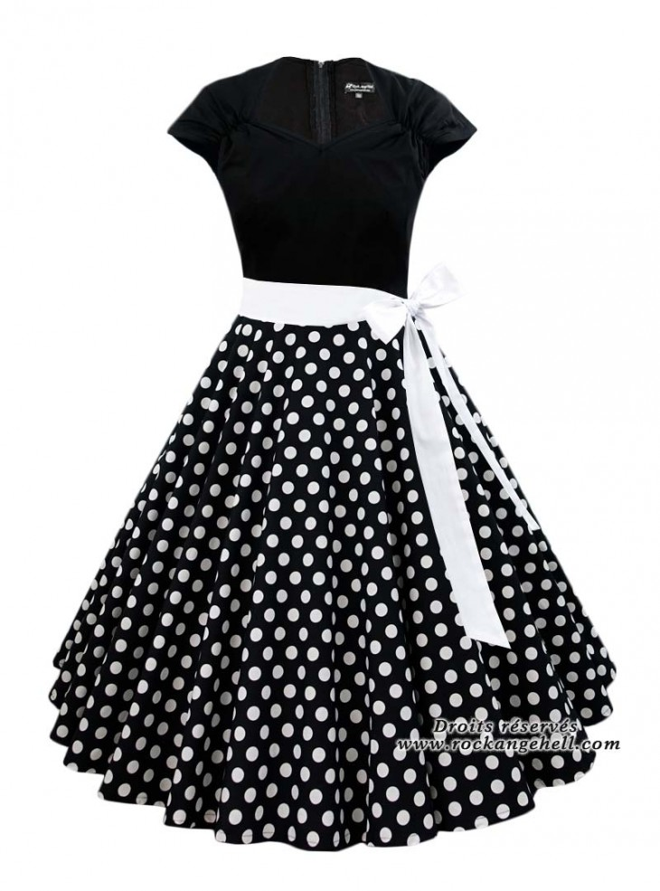 "Robe Rockabilly Retro Vintage Rock Ange'Hell ""Ellen Black White Dots"""