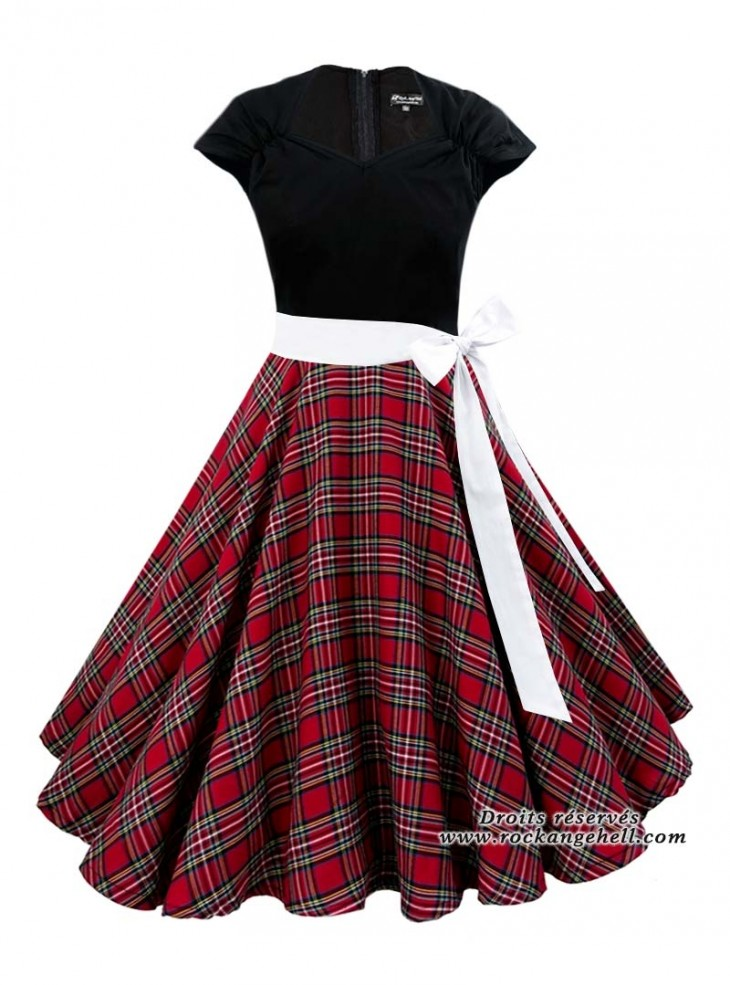 "Robe Rock Rockabilly Rock Ange'Hell ""Ellen Black Red Tartan"""