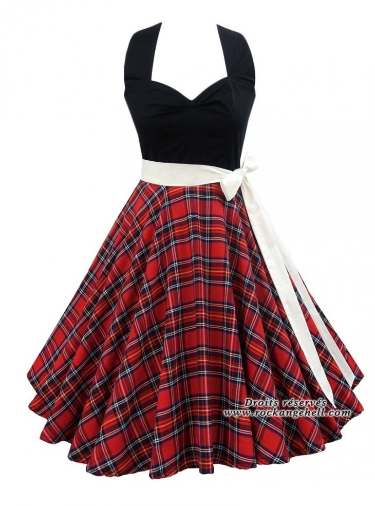 "Robe Rock Pin-Up Rockabilly Rock Ange'Hell ""Vivien Red Tartan"""