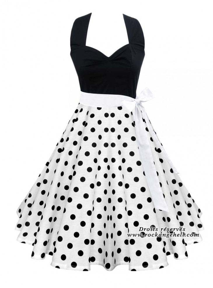 "Robe Retro Pin-Up Rockabilly Rock Ange'Hell ""Vivien Black White Dots"""