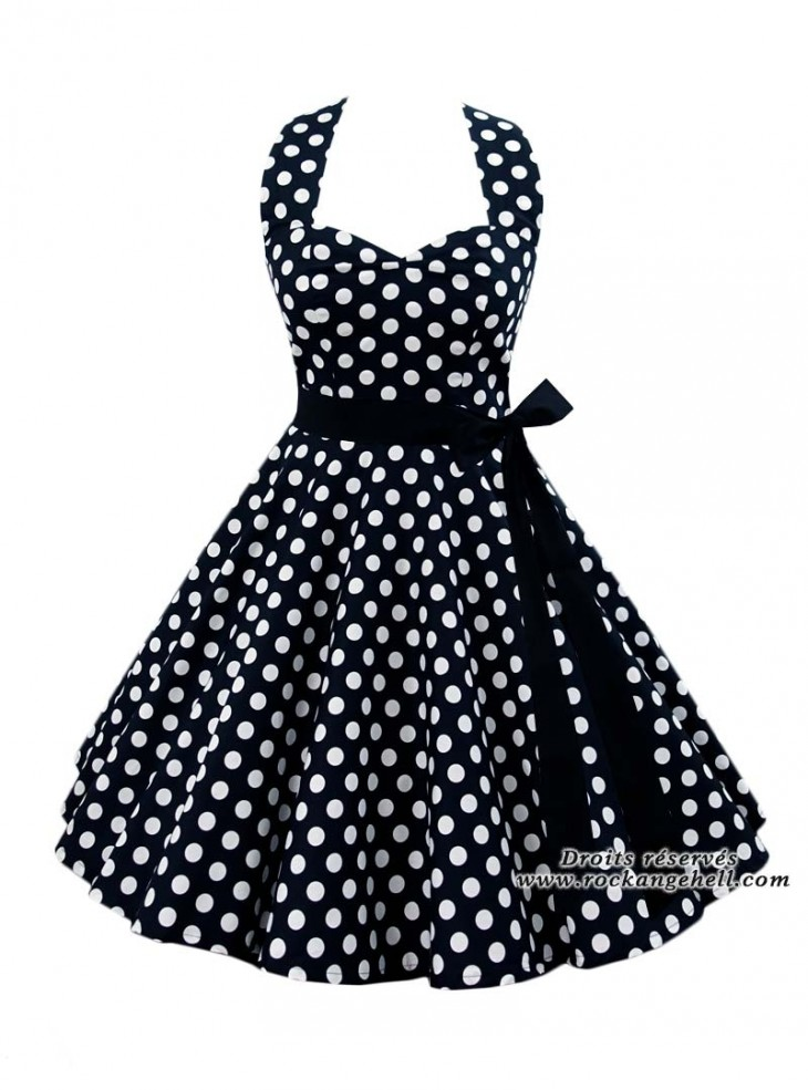 "Robe Rockabilly Pin-Up Années 50 Rock Ange'Hell ""Sofia Big White Dots"""