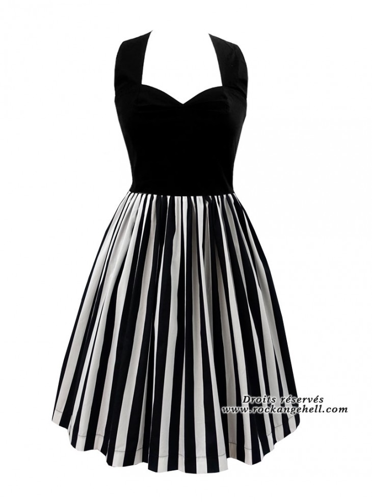 "Robe Rockabilly Gothique Rock Ange'Hell ""Lauren Black White Stripes"""