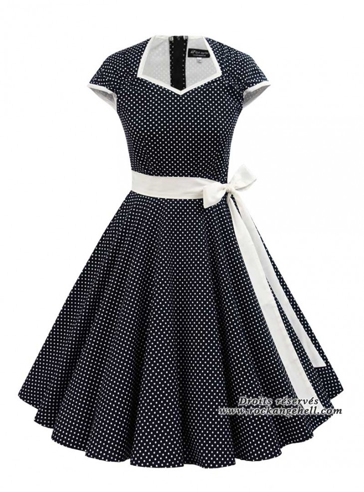 "Robe Rockabilly Vintage Retro Rock Ange'Hell ""Cloé Black White Dots"""