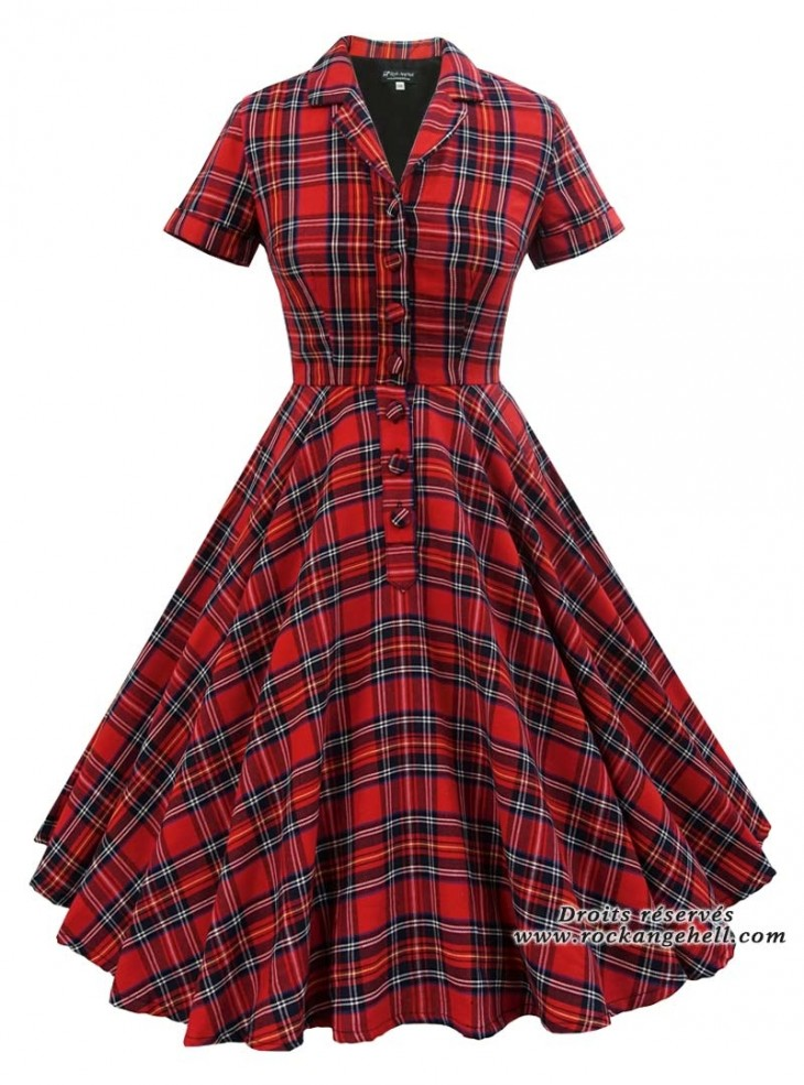 "Robe Rockabilly Vintage Reto Rock Ange'Hell ""Caterin Red Tartan"""