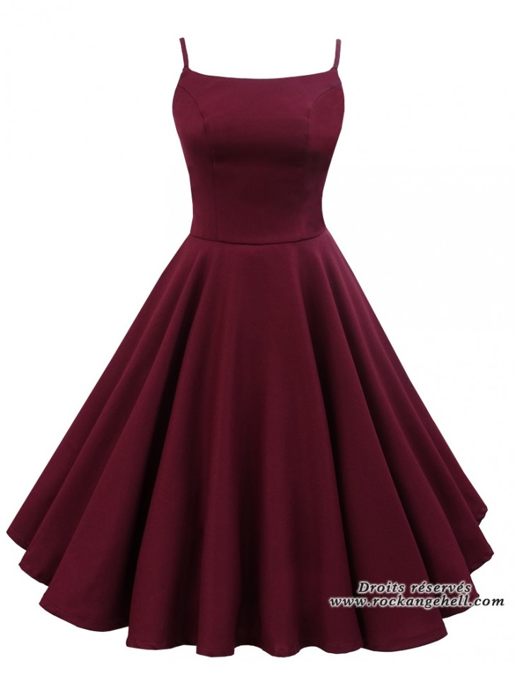 "Robe Rockabilly Retro Pin-Up Rock Ange'Hell ""Jane Burgundy"""