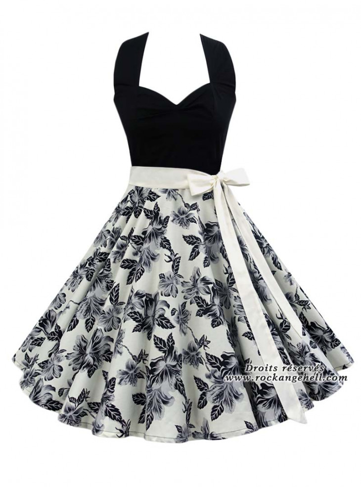 "Robe Rockabilly Retro Pin-Up Rock Ange'Hell ""Vivien Black Floral"""