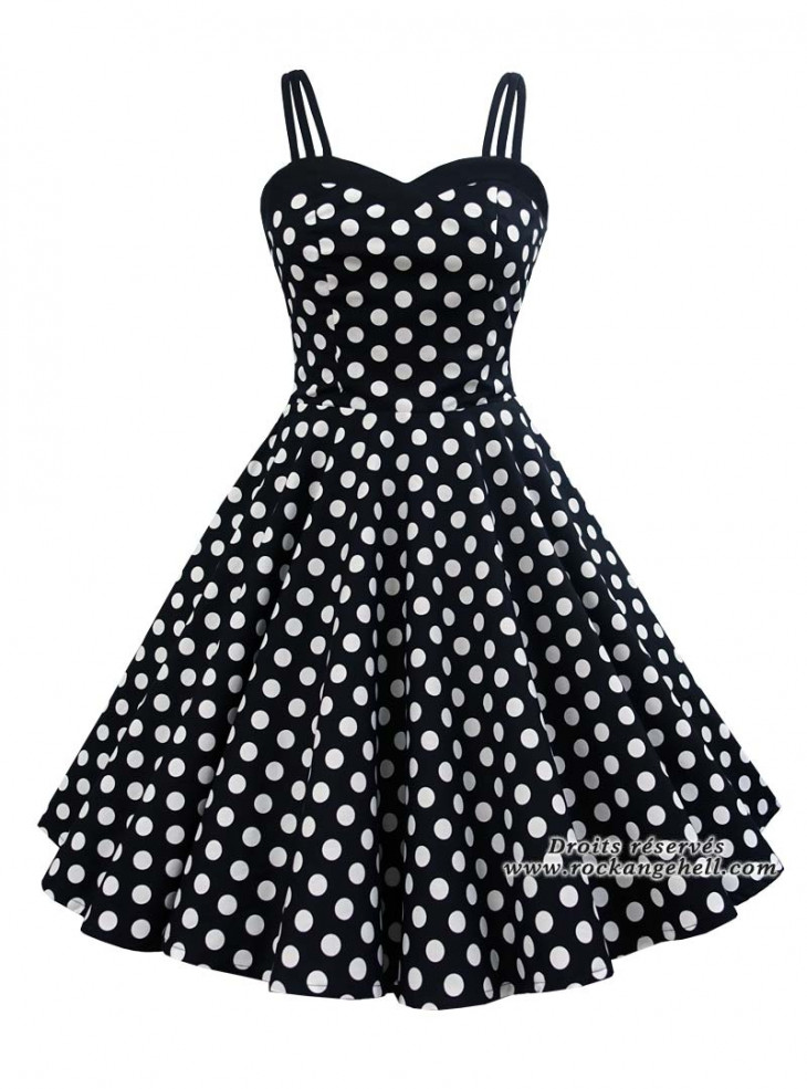 """Robe Pin-Up Années 50 Rockabilly Rock Ange'Hell """"Candy Big White Dots"""""""