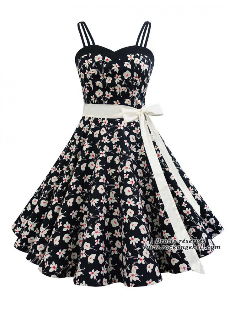 "Robe Pin-Up Rockabilly Retro Rock Ange'Hell ""Candy Cream Flowers"""