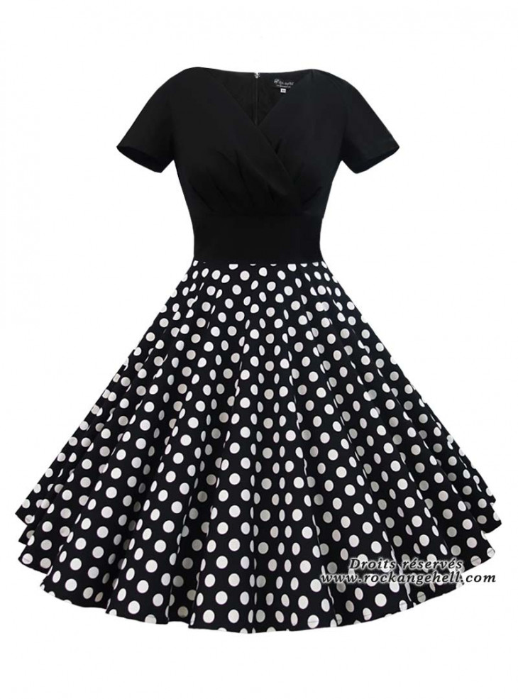 """Robe Rockabilly Vintage Pin-Up Rock Ange'Hell """"Sonia Black Big white Dots"""""""