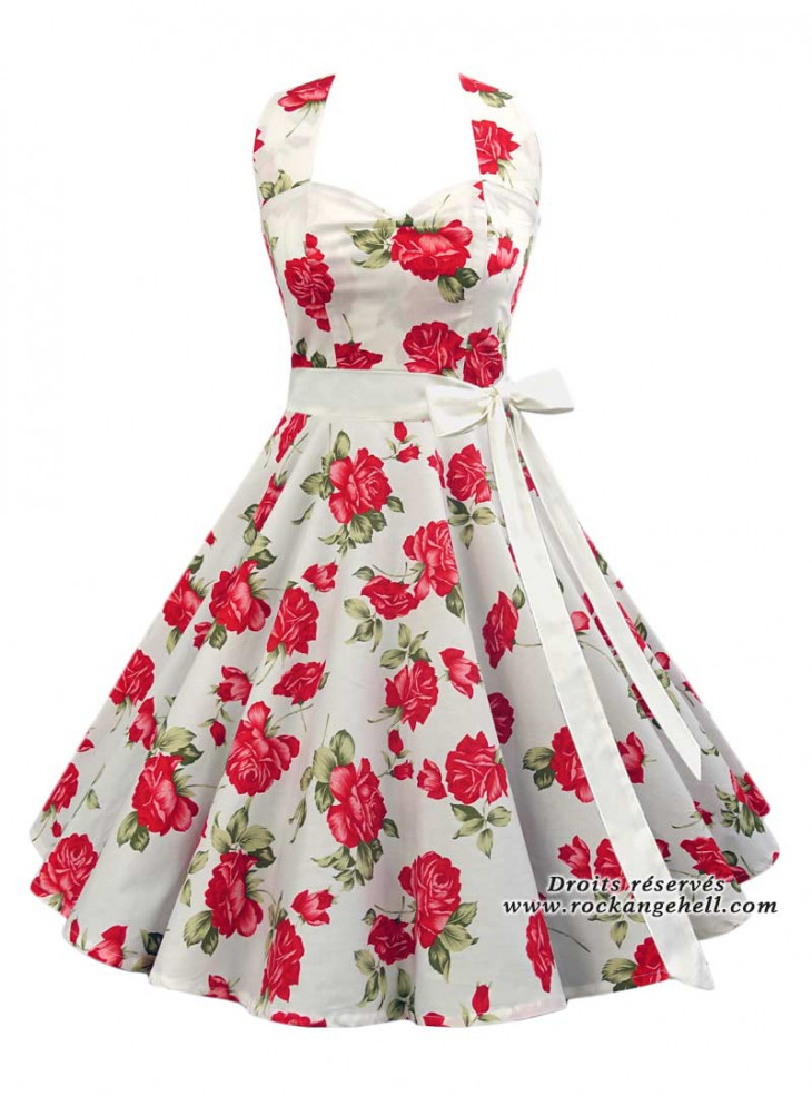 """Robe Rockabilly Pin-Up Vintage Rock Ange'Hell """"Vivien White Red Roses"""""""