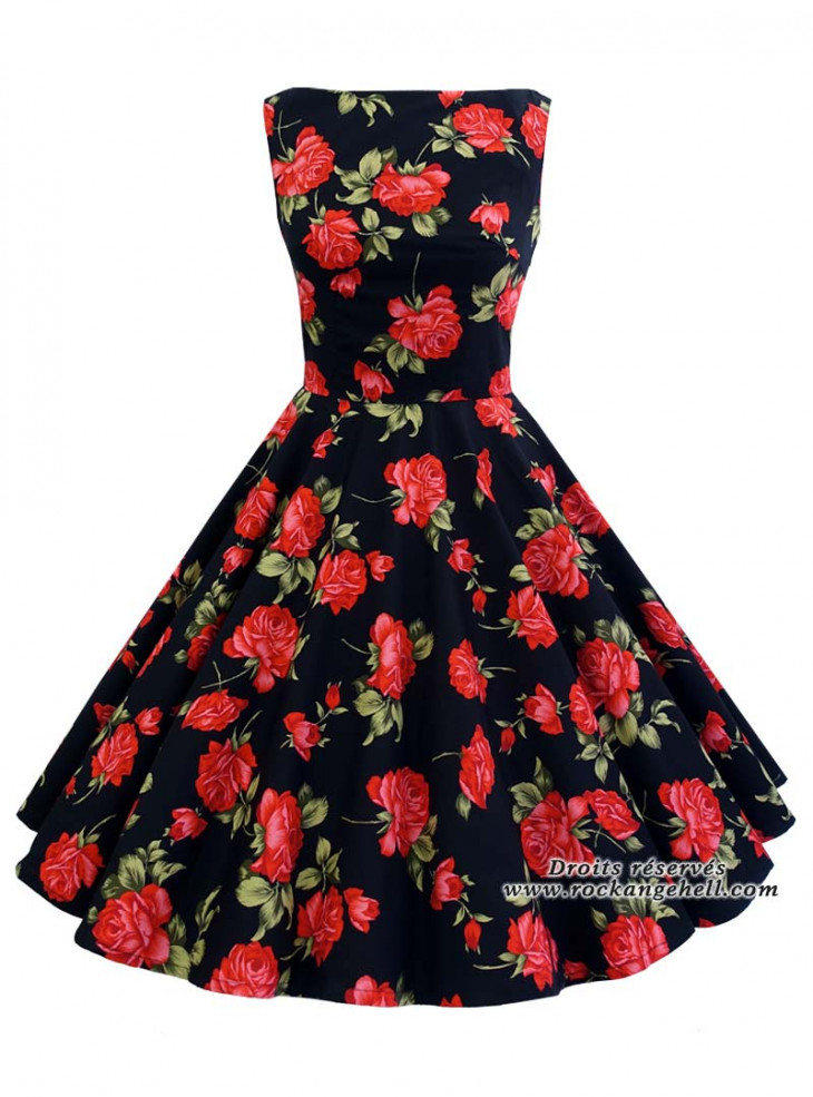 """Robe Rockabilly Pin-Up Vintage Rock Ange'Hell """"Audrey Black Red Roses"""""""