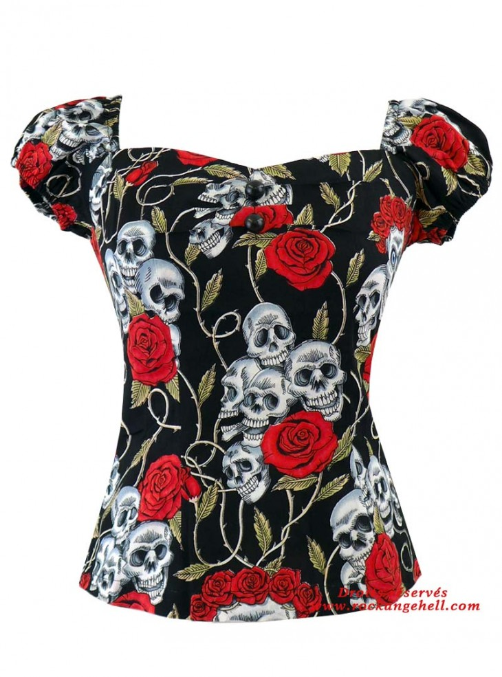 "Tee-shirt Rockabilly Rock Gothique Rock Ange'Hell ""Dolores Skulls & Roses"""