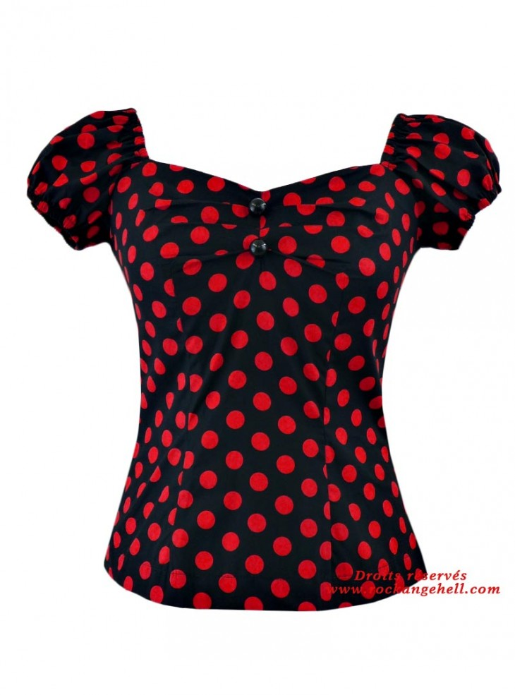 "Tee-shirt Pin-Up Rockabilly Retro Rock Ange'Hell ""Dolores Black Big Red Dots"""