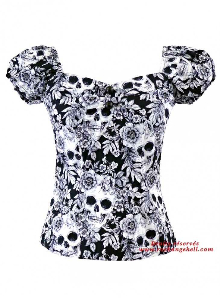 "Tee-shirt Rock Gothique Rockabilly Rock Ange'Hell ""Dolores White Skulls"""