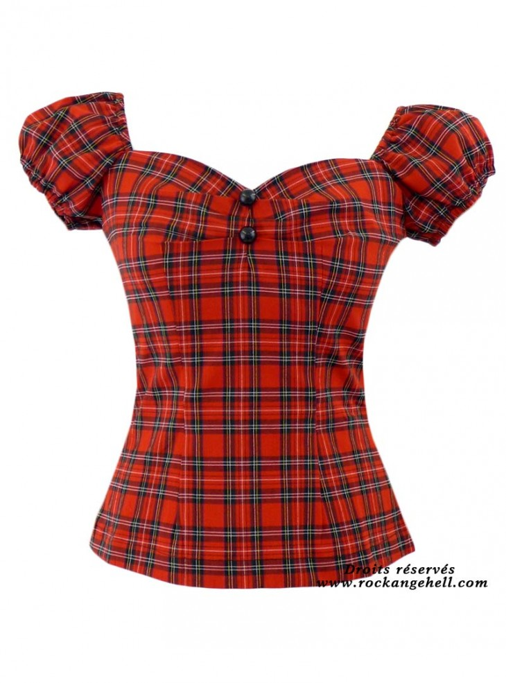 "Tee-shirt Punk Rock Rockabilly Rock Ange'Hell ""Dolores Red Tartan"""