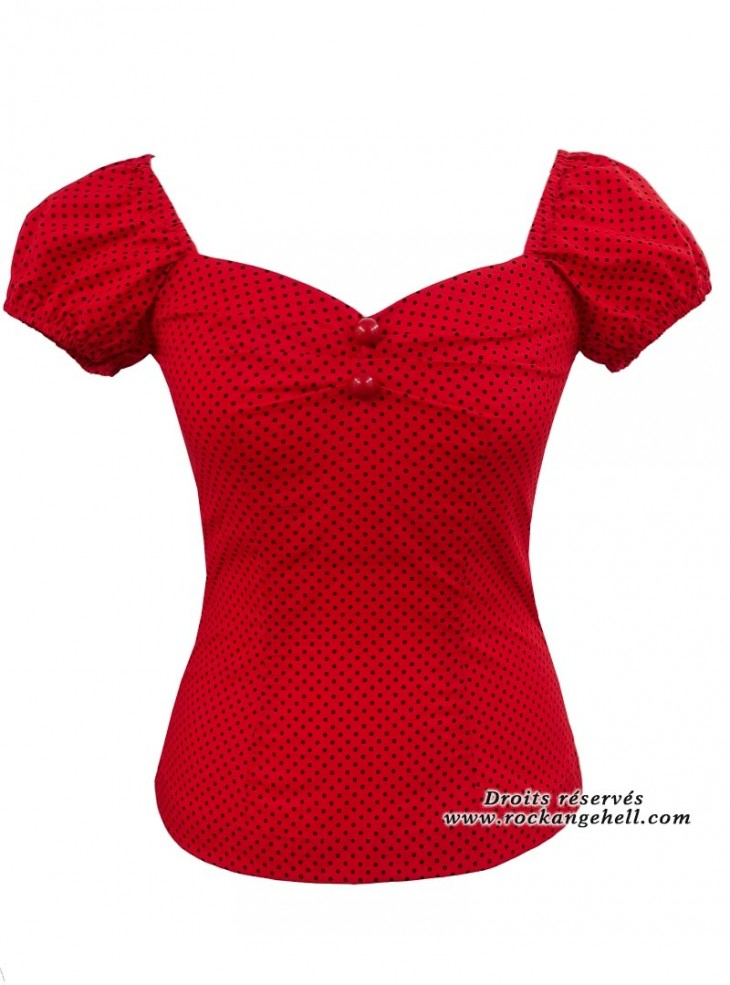 """Tee-shirt Années 50 Pin-Up Rockabilly Rock Ange'Hell """"Dolores Red Mini Dots Black"""""""