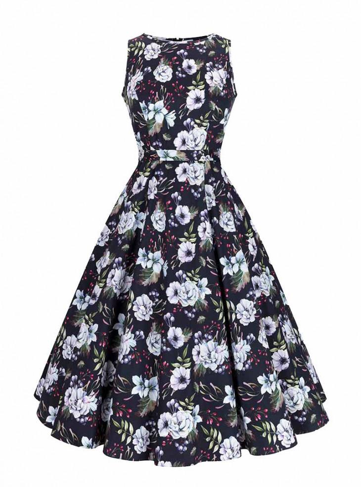 "Robe Rockabilly Pin-Up Années 50 Lady Vintage ""Winter Floral Hepburn"""