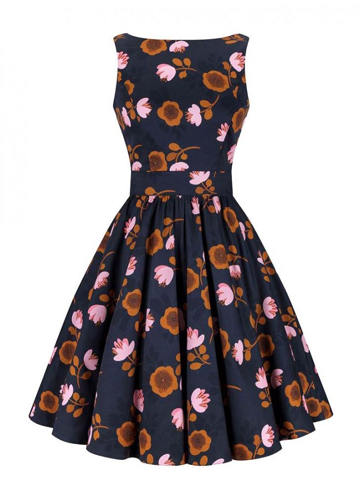 "Robe Rockabilly Années 50 Retro Lady Vintage ""Lotus Flower Tea Dress"""