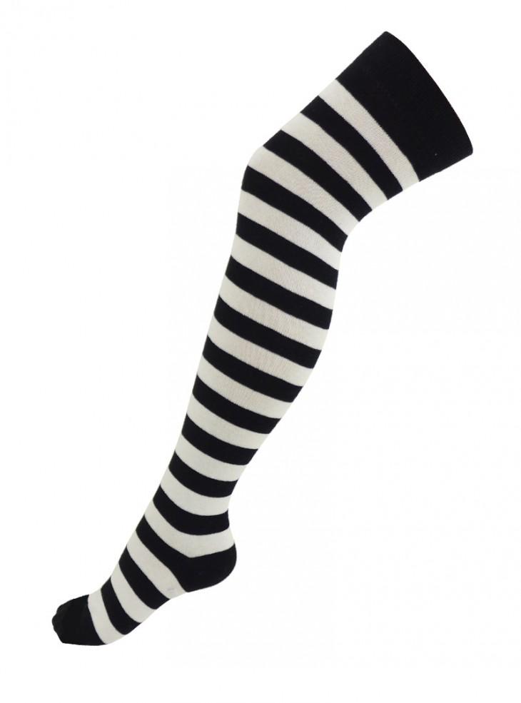 Chaussettes longues Punk Rock Gothique larges rayures noir/blanc