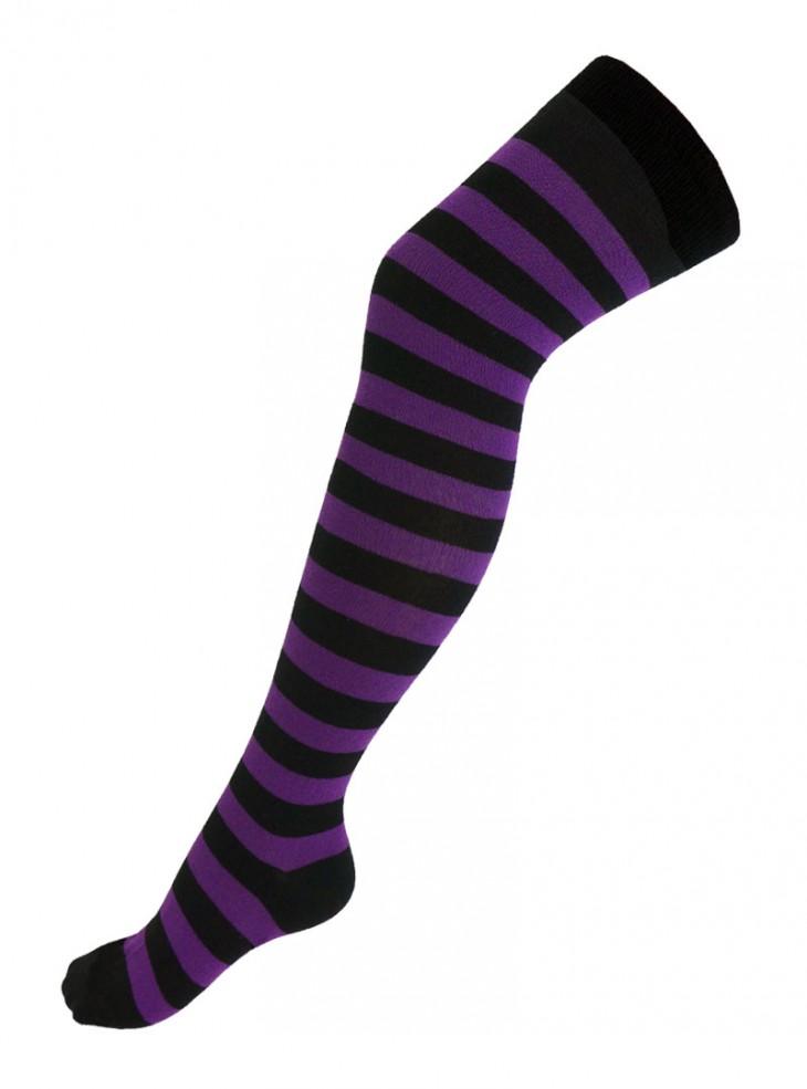 Chaussettes montantes larges rayures noir/violet