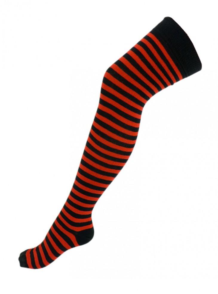 Chaussettes montantes fines rayures rouge/noir