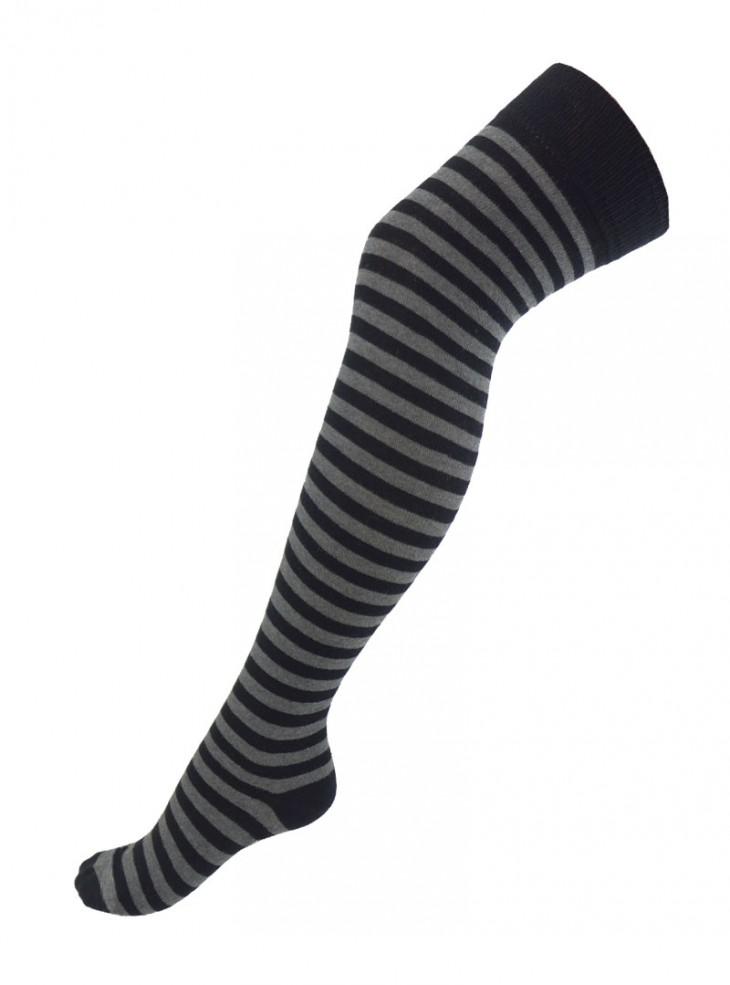 Chaussettes Montantes Punk Rock Macahel fines rayures gris/noir