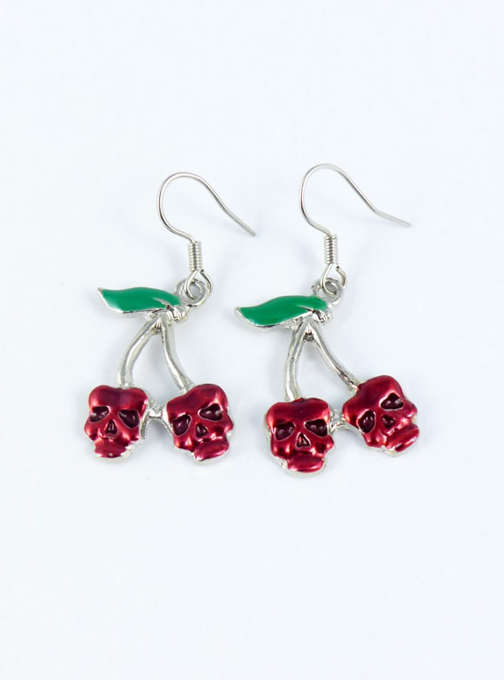 "Boucles d'oreilles Rockabilly Rock Daddy ""Cherry Skull"""