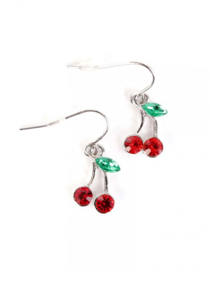 "Boucles d'oreilles Retro Rockabilly Vintage ""Cristal Cherry"""