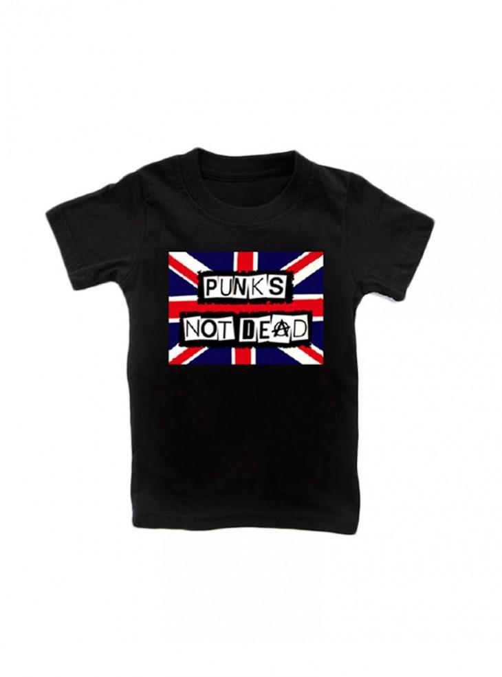 "Tee-shirt noir punk ENFANT Rock Daddy ""Flag Punks Not Dead"""