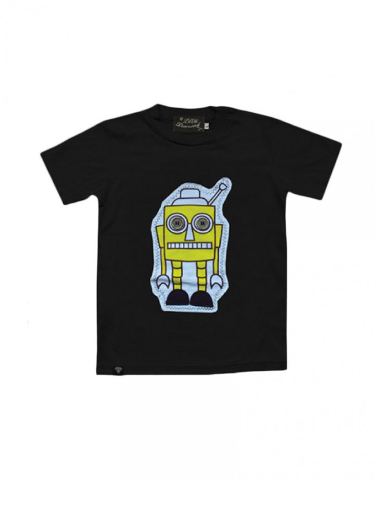 "Tee-shirt noir ENFANT Little Diamond ""Sponge Bot"""