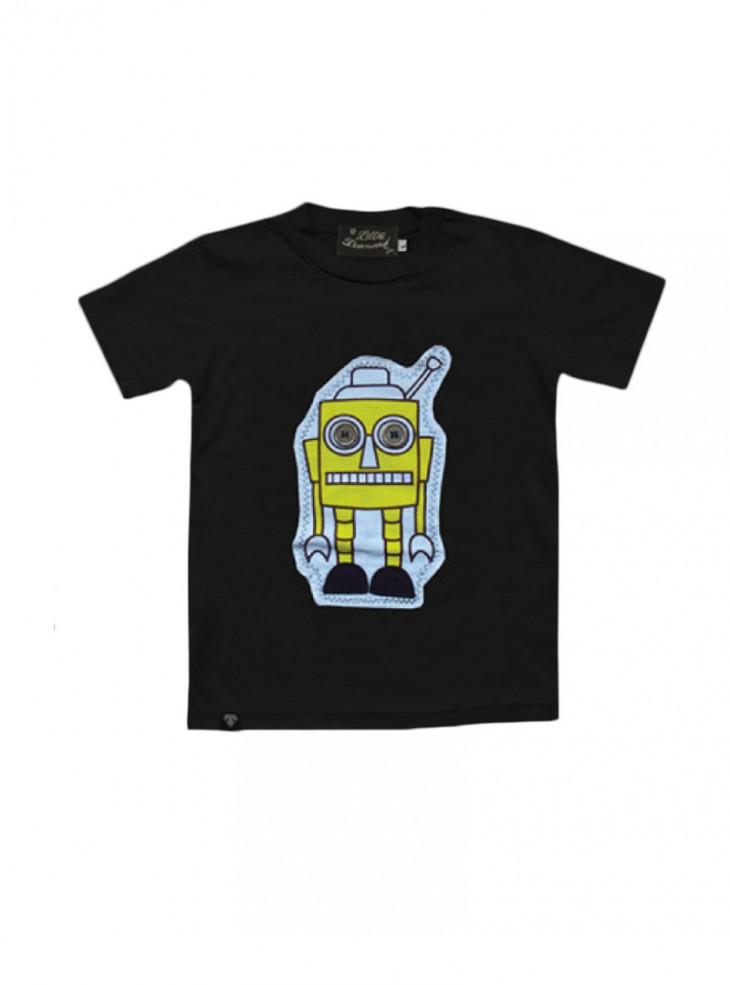 """Tee-shirt noir ENFANT Little Diamond """"Sponge Bot"""""""
