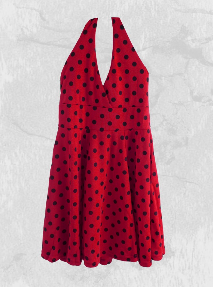 "Robe Enfant Rockabilly Pin-Up Little Diamond ""Red&Black Dots"""