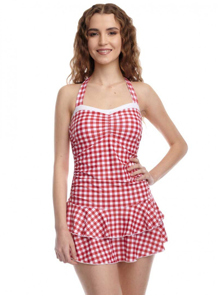 """Maillot de bain 1 pièce Rockabilly Pin-Up Retro Pussy Deluxe """"Red Plaid"""""""