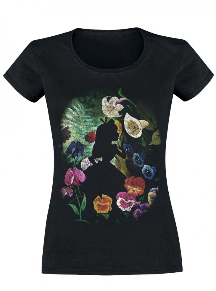 "Tee-Shirt Disney Alice au Pays des Merveilles ""Black Flower"""