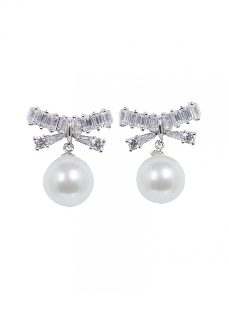 "Boucles d'oreille Rockabilly Pin-Up Retro Voodoo Vixen ""Elegant Pearl"""