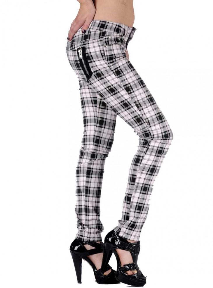 "Pantalon slim écossais blanc punk rock Jawbreaker ""White Tartan"""