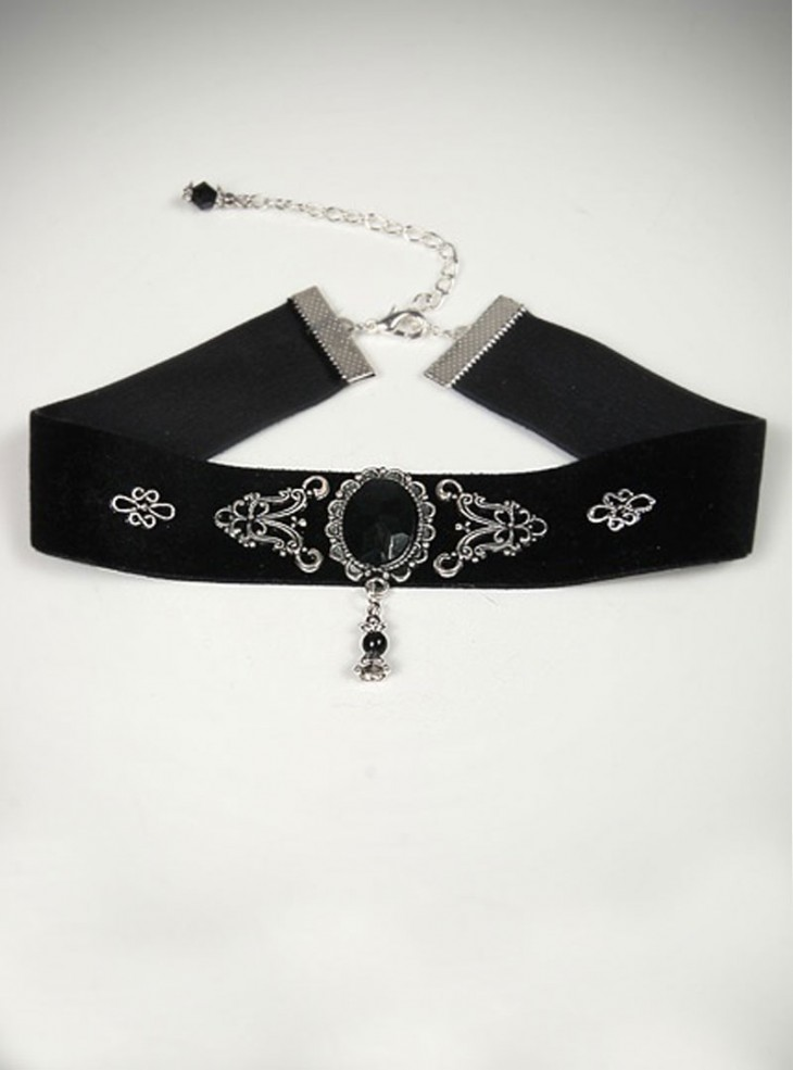 "Collier ras du cou Gothique Dark Wear ""Black Stone"""