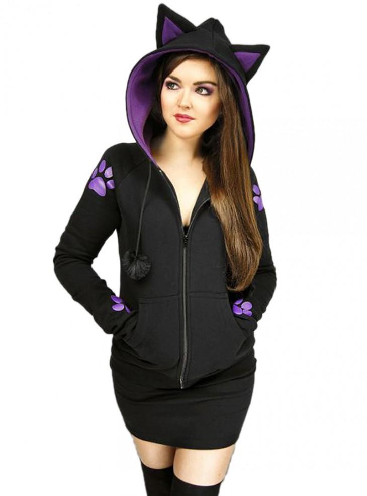 """Sweat Chat Rock Gothique Kawaii """"Purple Cat"""""""