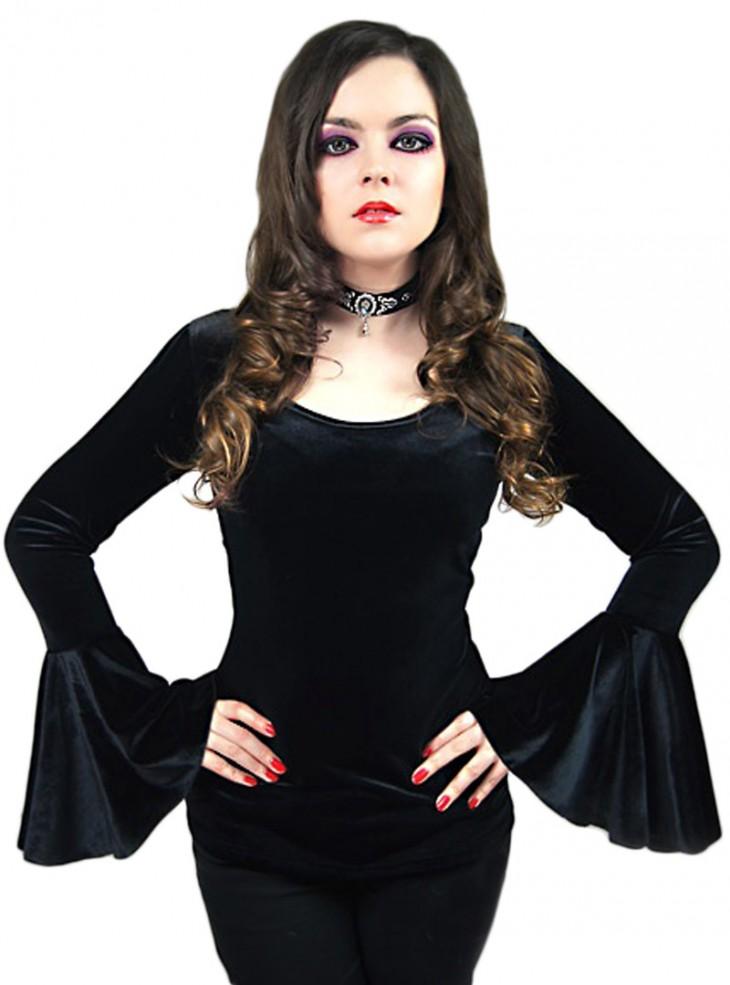Haut Manches Longues Velours Gothique Witch