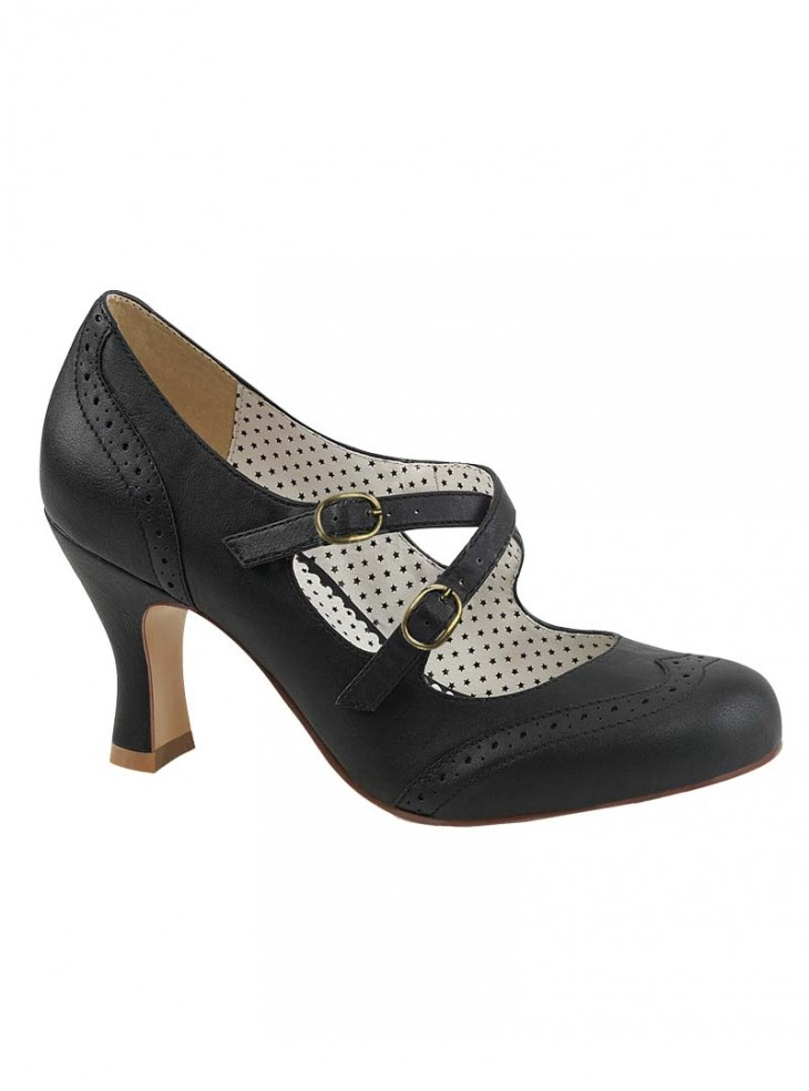 """Chaussures Escarpins Années 50 Rockabilly Pin Up Couture """"Flapper Black Crossed"""""""