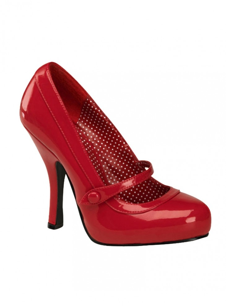 "Chaussures Escarpins Retro Rockabilly Pin Up Couture ""Cutie Red"""