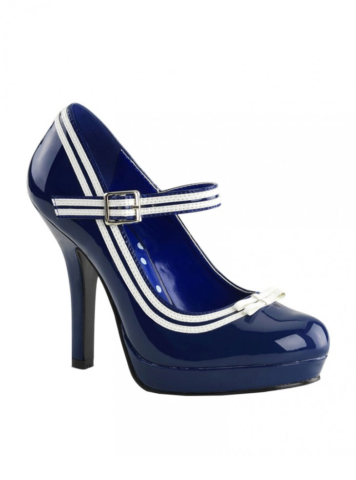 """Chaussures Escarpins Vintage Rockabilly Pin Up Couture """"Secret Blue"""""""