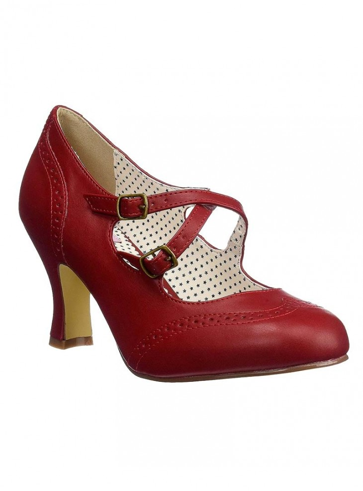 """Chaussures Escarpins Rockabilly Vintage Pin Up Couture """"Flapper Red Crossed"""""""