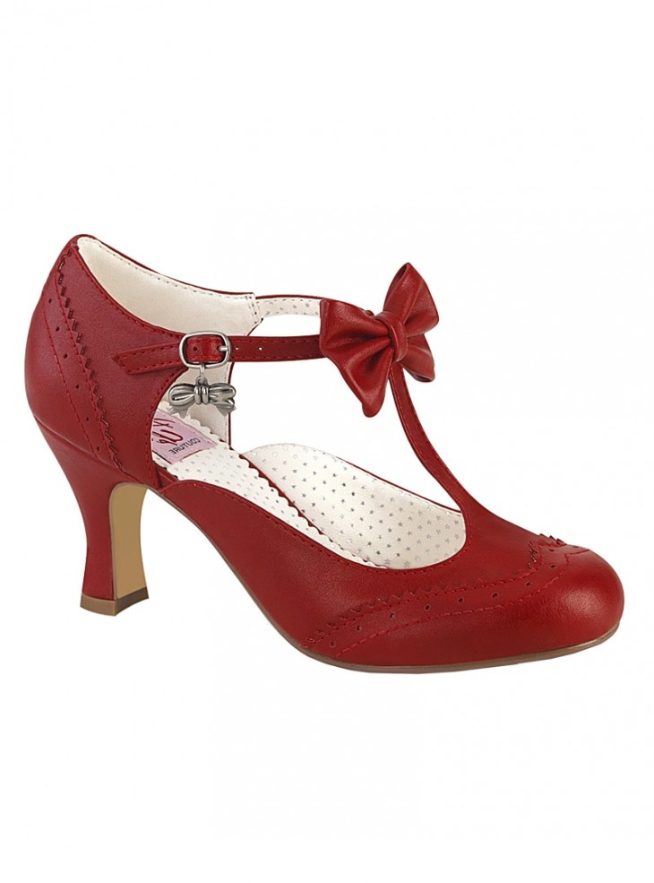 "Chaussures Escarpins Retro Vintage Rockabilly Pin Up Couture ""Flapper Bow Red"""