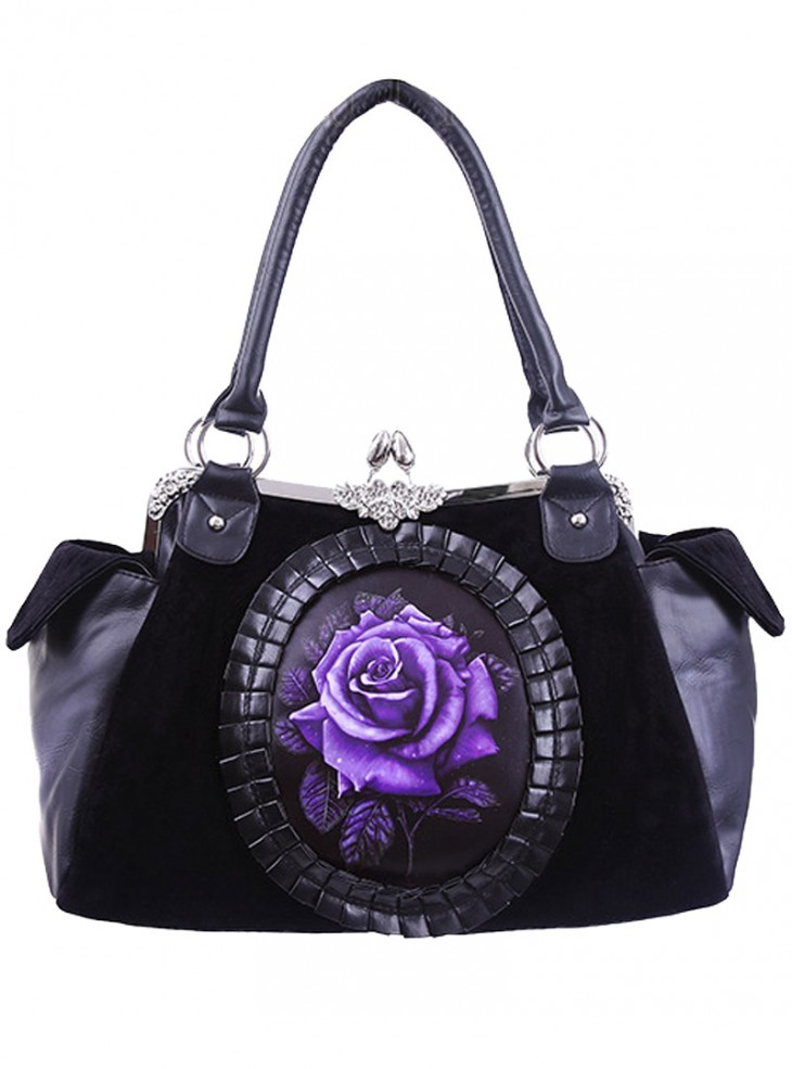 "Sac à main Gothique Lolita Restyle ""Purple Rose"""