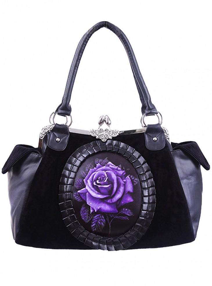 "Sac à main Gothique Lolita Restyle ""Purple Rose"""
