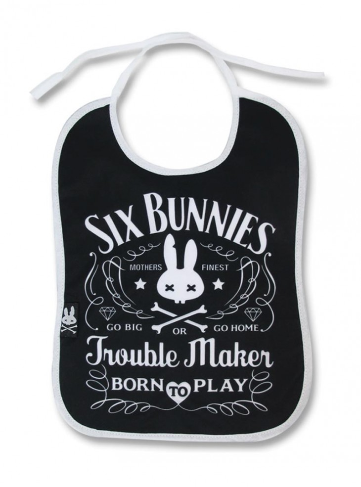 "Bavoir Rock Métal Six Bunnies ""Troublemaker"""