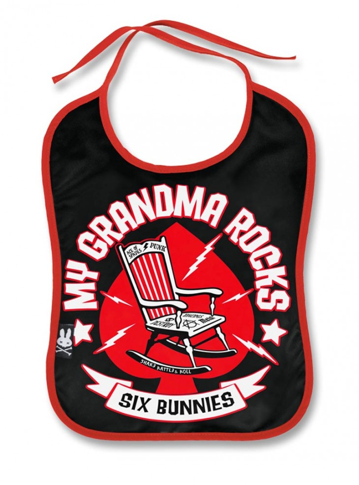"Bavoir Rock Métal Six Bunnies ""Grandma Rocks"""